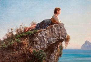 Filippo Palizzi - Fanciulla sulla roccia a Sorrento